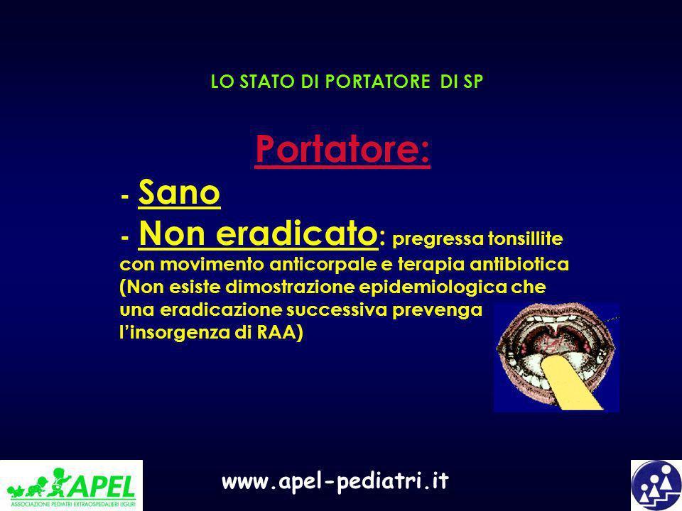 www.apel-pediatri.it LO STATO DI PORTATORE DI SP Portatore: - Sano - Non eradicato : pregressa tonsillite con movimento anticorpale e terapia antibiot