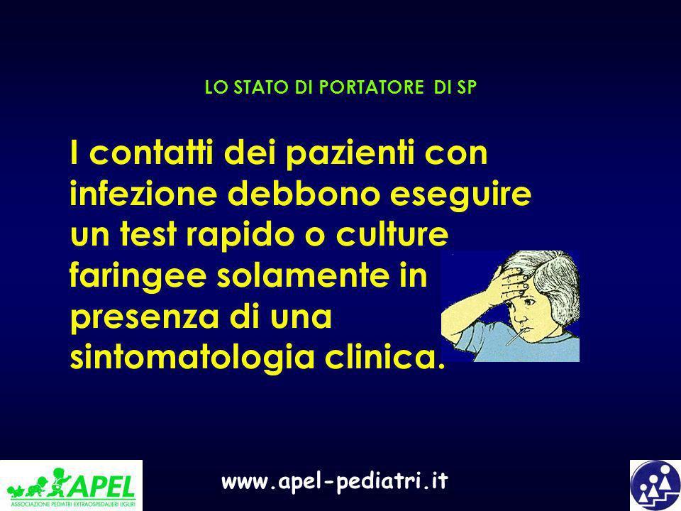 www.apel-pediatri.it I contatti dei pazienti con infezione debbono eseguire un test rapido o culture faringee solamente in presenza di una sintomatolo