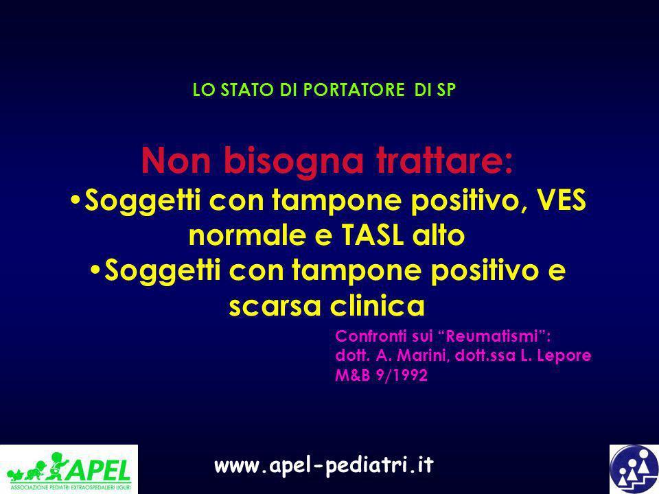 www.apel-pediatri.it LO STATO DI PORTATORE DI SP Non bisogna trattare: Soggetti con tampone positivo, VES normale e TASL alto Soggetti con tampone pos