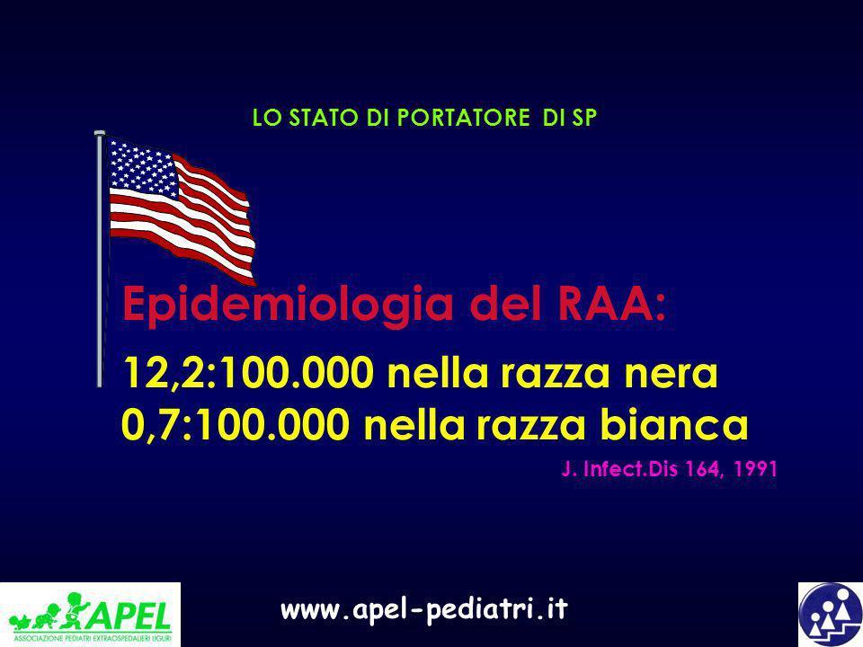 www.apel-pediatri.it LO STATO DI PORTATORE DI SP Epidemiologia del RAA: 12,2:100.000 nella razza nera 0,7:100.000 nella razza bianca J. Infect.Dis 164