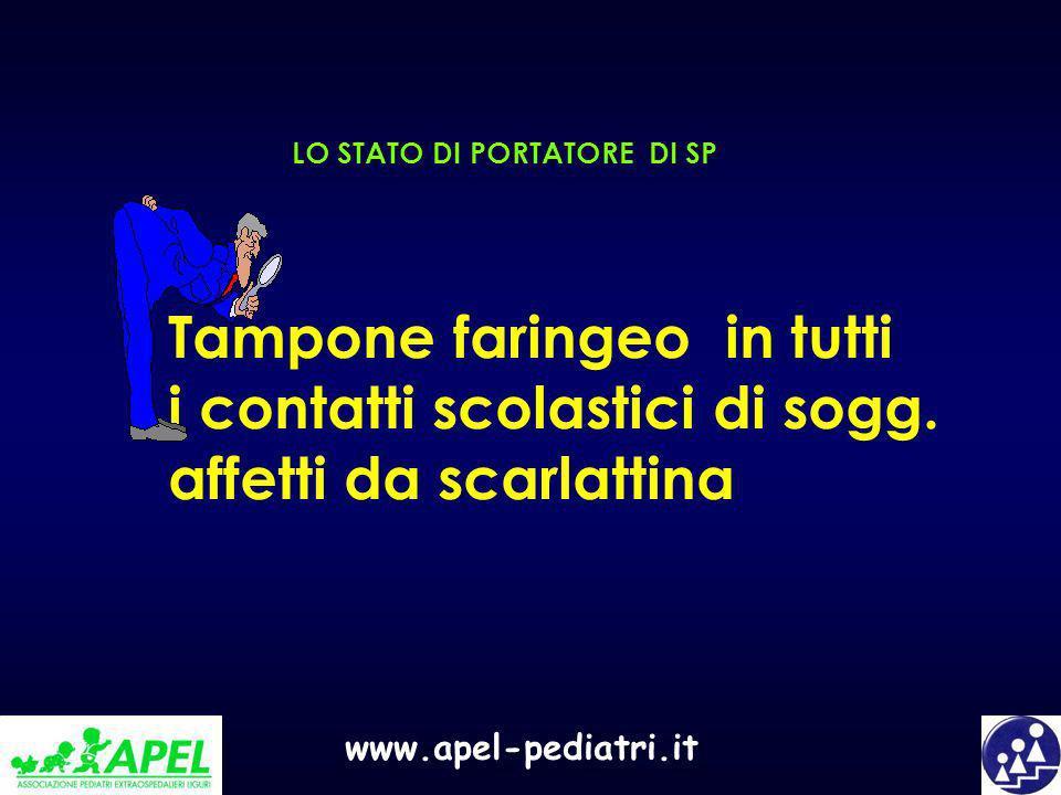 www.apel-pediatri.it LO STATO DI PORTATORE DI SP Tampone faringeo in tutti i contatti scolastici di sogg. affetti da scarlattina