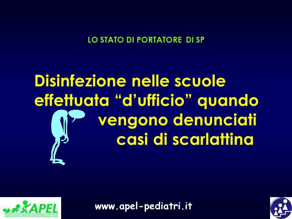 www.apel-pediatri.it LO STATO DI PORTATORE DI SP Disinfezione nelle scuole effettuata dufficio quando vengono denunciati casi di scarlattina