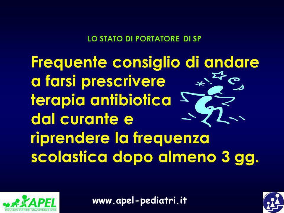 www.apel-pediatri.it LO STATO DI PORTATORE DI SP Frequente consiglio di andare a farsi prescrivere terapia antibiotica dal curante e riprendere la fre