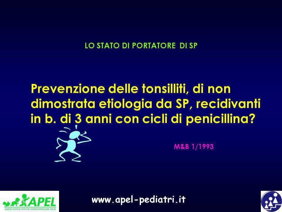 www.apel-pediatri.it LO STATO DI PORTATORE DI SP Prevenzione delle tonsilliti, di non dimostrata etiologia da SP, recidivanti in b. di 3 anni con cicl