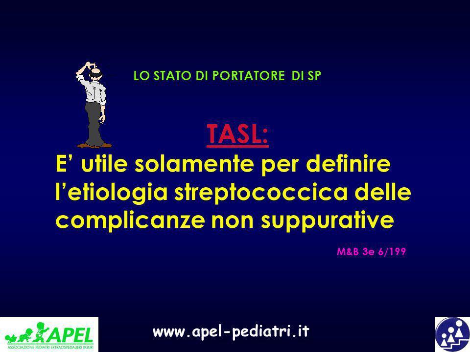 www.apel-pediatri.it LO STATO DI PORTATORE DI SP TASL: E utile solamente per definire letiologia streptococcica delle complicanze non suppurative M&B