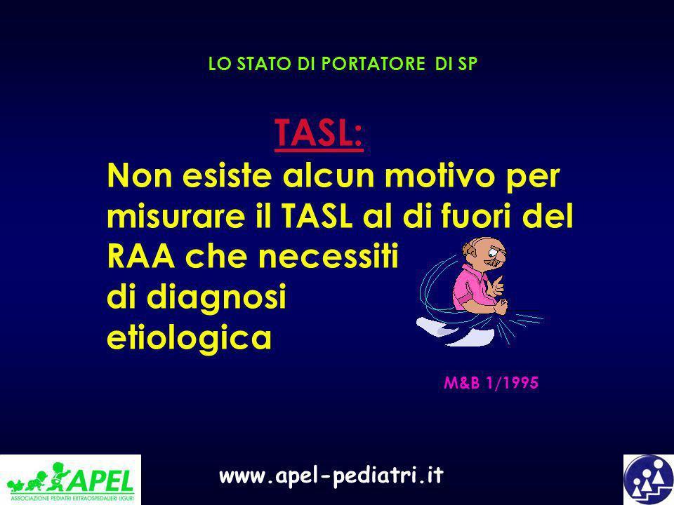 www.apel-pediatri.it LO STATO DI PORTATORE DI SP TASL: Non esiste alcun motivo per misurare il TASL al di fuori del RAA che necessiti di diagnosi etio