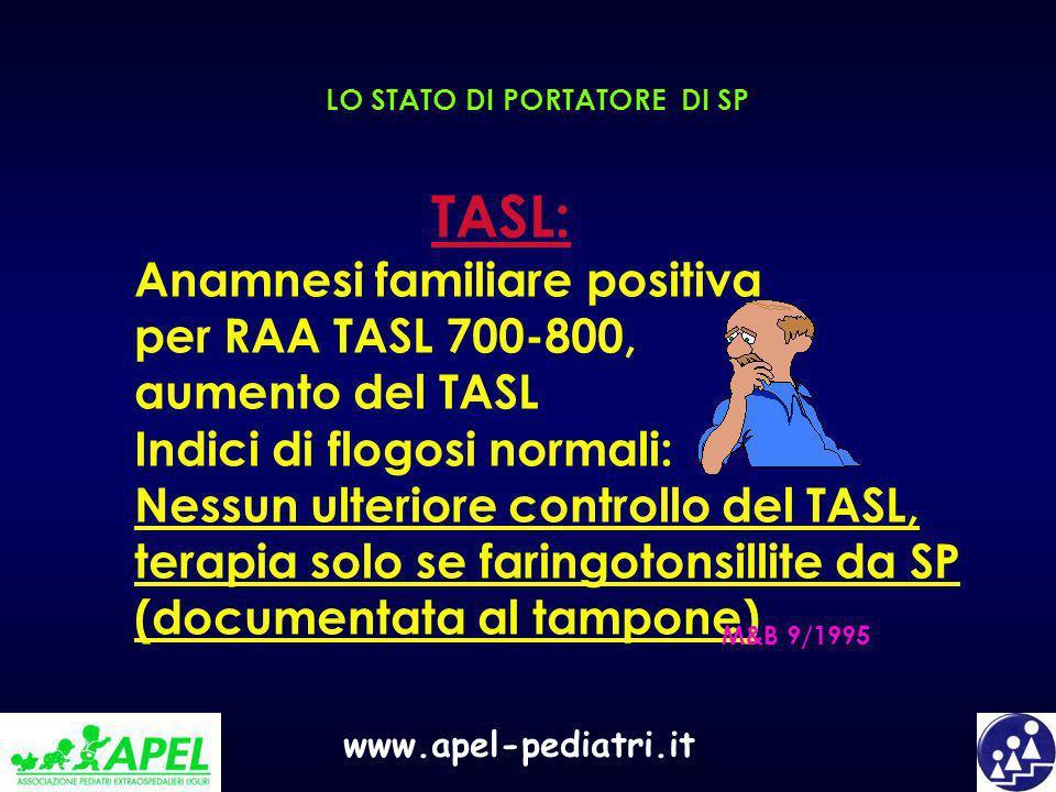 www.apel-pediatri.it LO STATO DI PORTATORE DI SP TASL: Anamnesi familiare positiva per RAA TASL 700-800, aumento del TASL Indici di flogosi normali: N