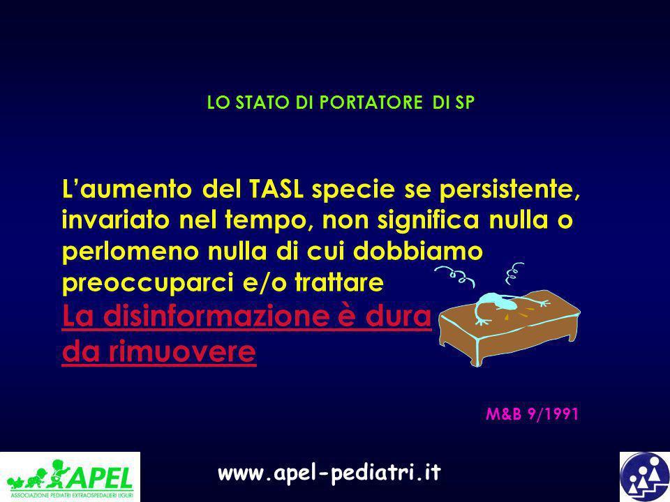 www.apel-pediatri.it LO STATO DI PORTATORE DI SP Laumento del TASL specie se persistente, invariato nel tempo, non significa nulla o perlomeno nulla d