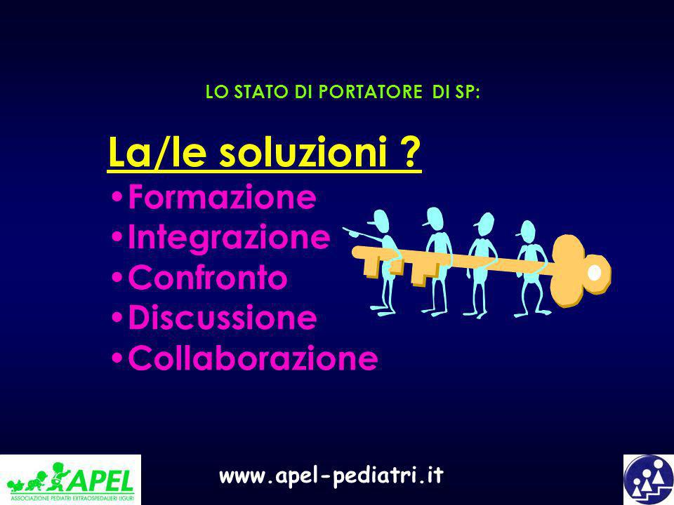 www.apel-pediatri.it La/le soluzioni ? Formazione Integrazione Confronto Discussione Collaborazione LO STATO DI PORTATORE DI SP: