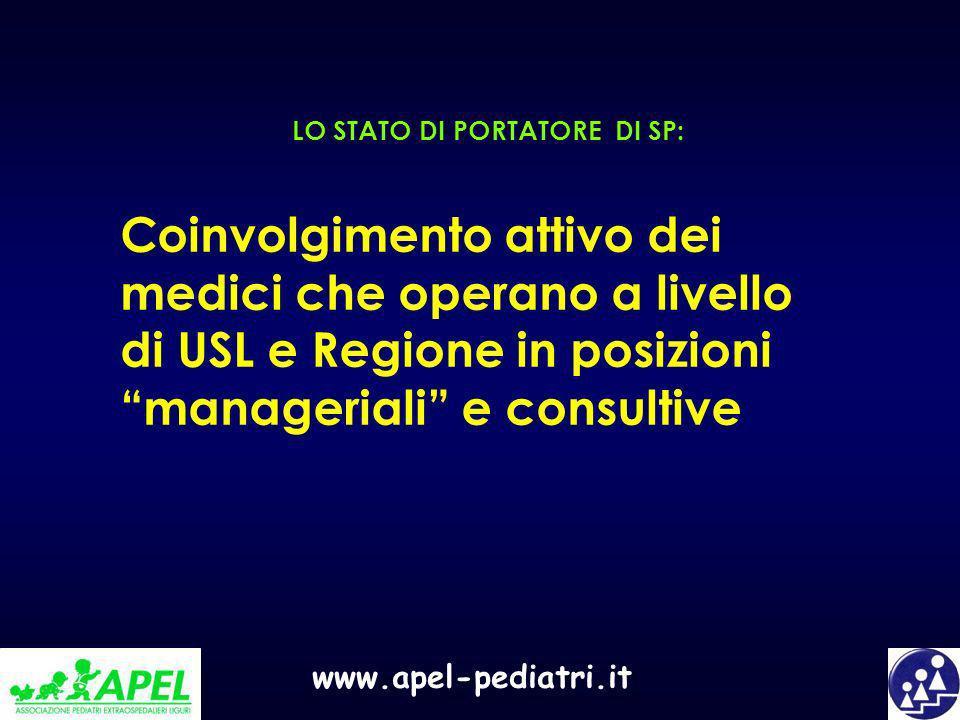 www.apel-pediatri.it LO STATO DI PORTATORE DI SP: Coinvolgimento attivo dei medici che operano a livello di USL e Regione in posizioni manageriali e c