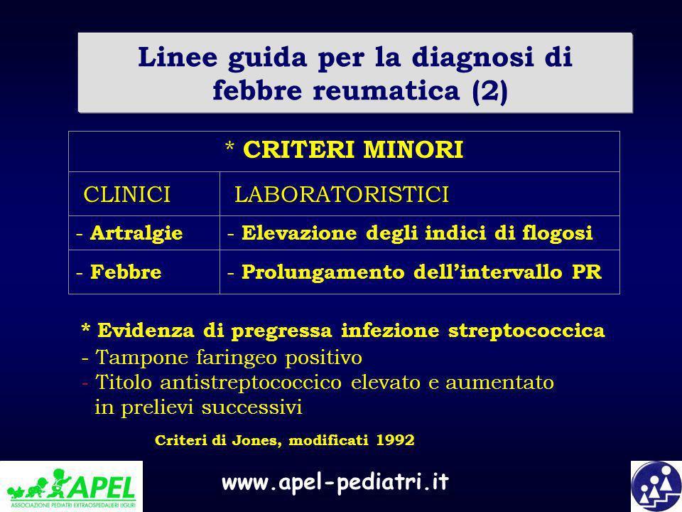 www.apel-pediatri.it Linee guida per la diagnosi di febbre reumatica (2) - Prolungamento dellintervallo PR - Febbre - Elevazione degli indici di flogo