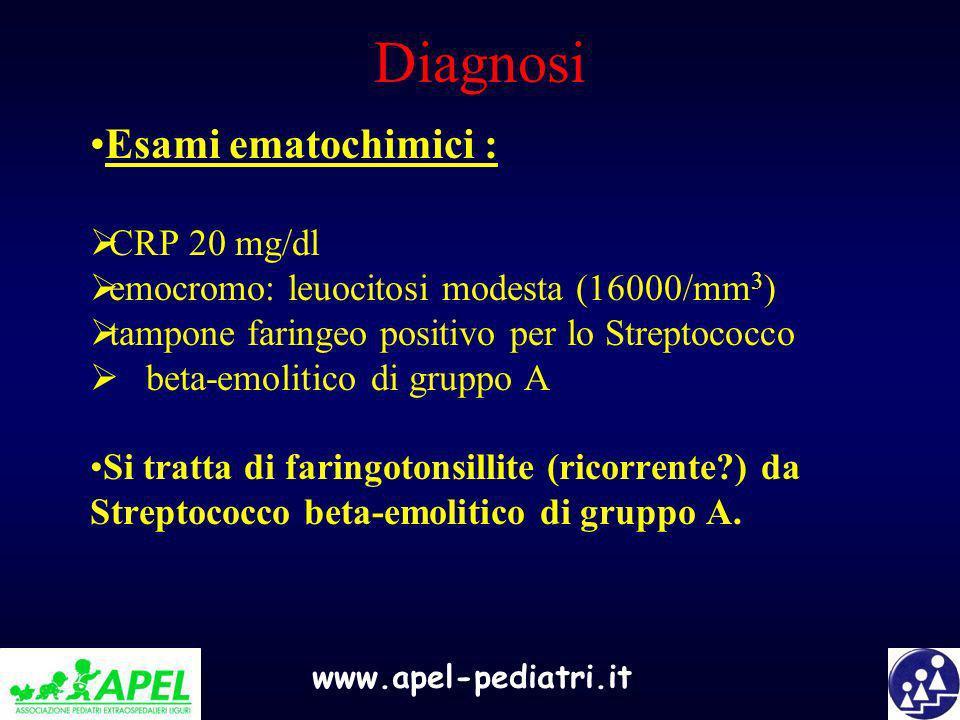 www.apel-pediatri.it Diagnosi Esami ematochimici : CRP 20 mg/dl emocromo: leuocitosi modesta (16000/mm 3 ) tampone faringeo positivo per lo Streptococ