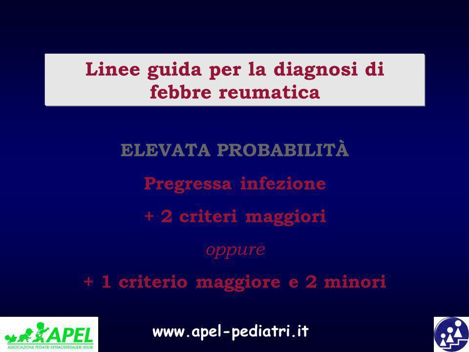 www.apel-pediatri.it Linee guida per la diagnosi di febbre reumatica ELEVATA PROBABILITÀ Pregressa infezione + 2 criteri maggiori oppure + 1 criterio