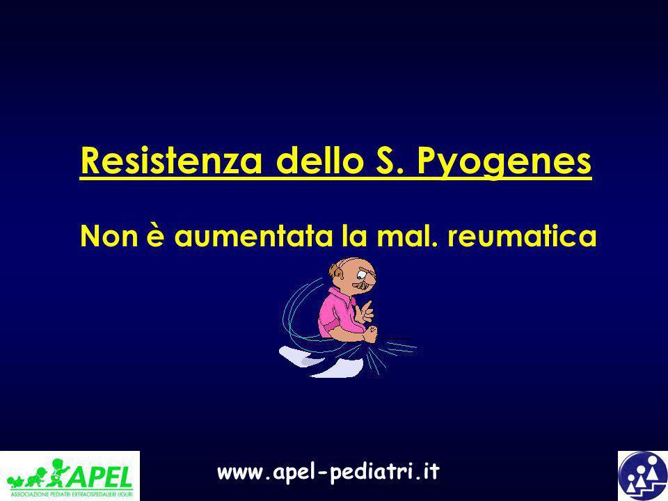 www.apel-pediatri.it Resistenza dello S. Pyogenes Non è aumentata la mal. reumatica