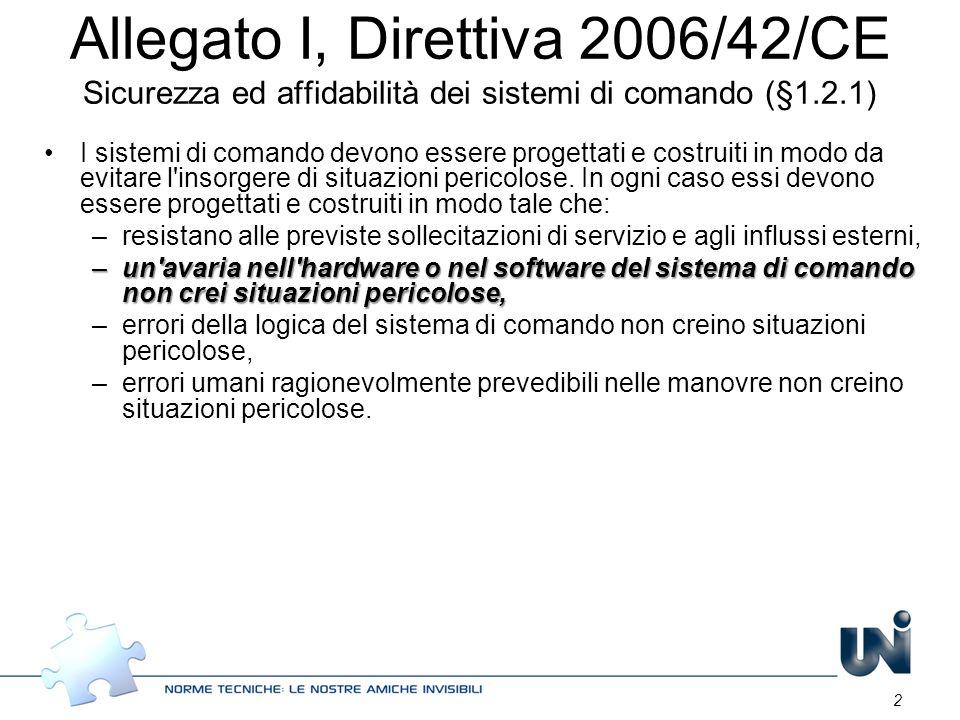 2 Allegato I, Direttiva 2006/42/CE Sicurezza ed affidabilità dei sistemi di comando (§1.2.1) I sistemi di comando devono essere progettati e costruiti