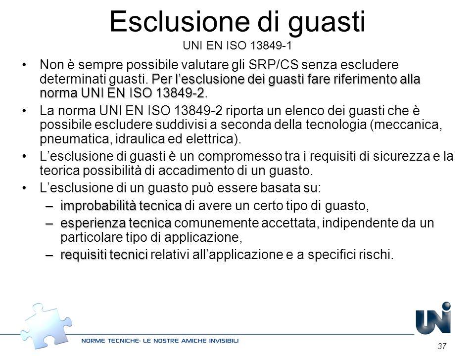 37 Esclusione di guasti UNI EN ISO 13849-1 Per lesclusione dei guasti fare riferimento alla norma UNI EN ISO 13849-2Non è sempre possibile valutare gl