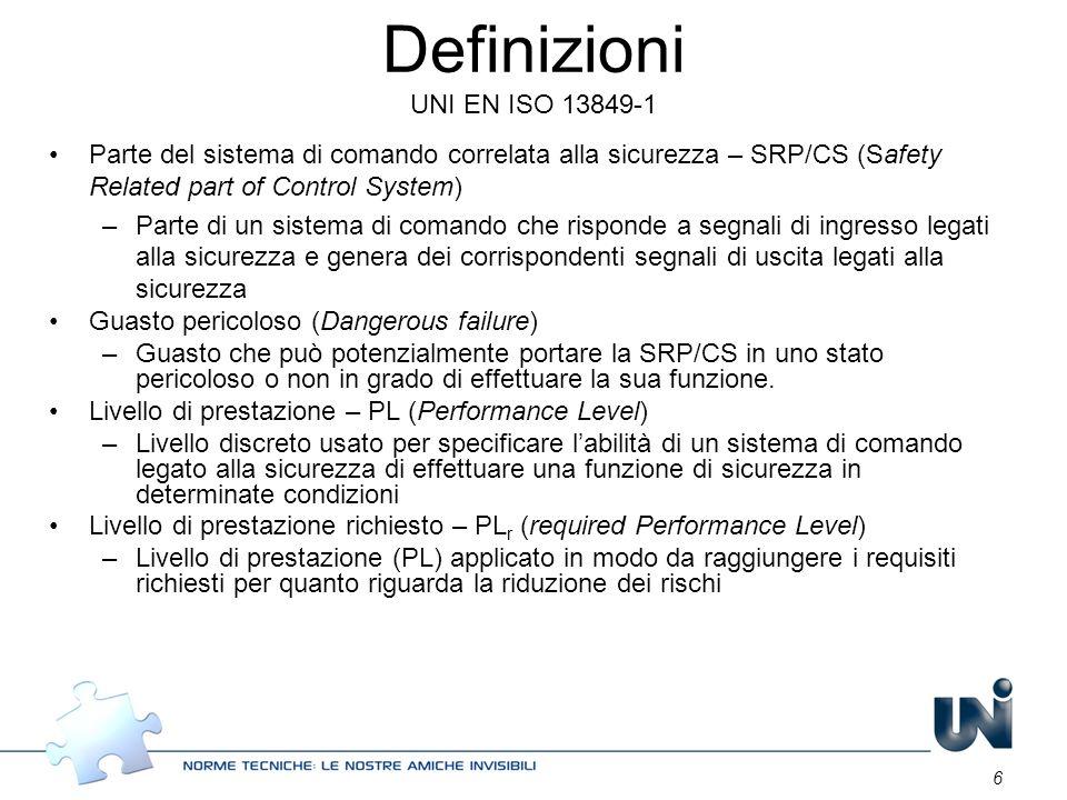 6 Definizioni UNI EN ISO 13849-1 Parte del sistema di comando correlata alla sicurezza – SRP/CS (Safety Related part of Control System) –Parte di un s