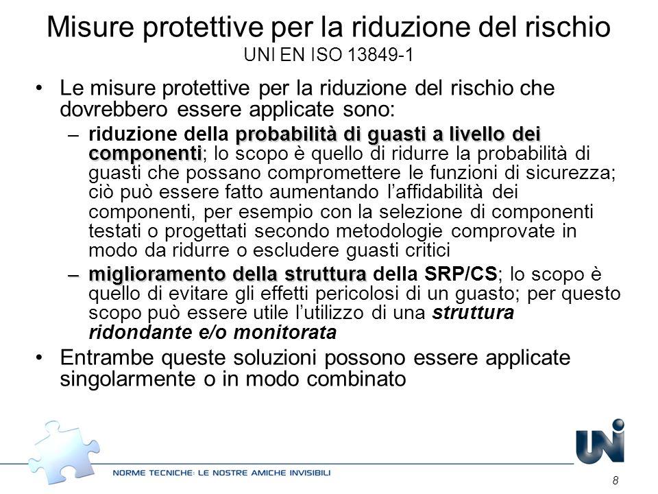 8 Misure protettive per la riduzione del rischio UNI EN ISO 13849-1 Le misure protettive per la riduzione del rischio che dovrebbero essere applicate