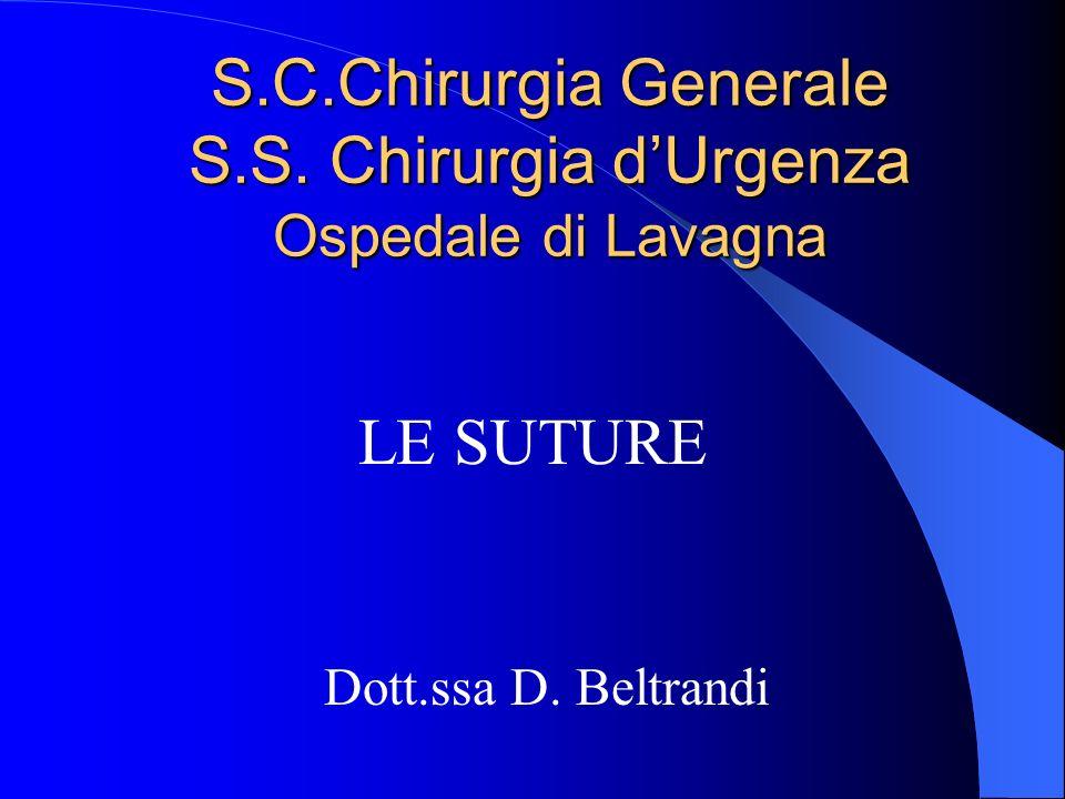 S.C.Chirurgia Generale S.S. Chirurgia dUrgenza Ospedale di Lavagna LE SUTURE Dott.ssa D. Beltrandi