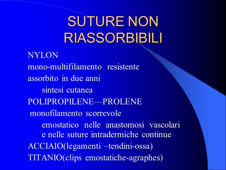 SUTURE NON RIASSORBIBILI NYLON mono-multifilamento resistente assorbito in due anni sintesi cutanea POLIPROPILENEPROLENE monofilamento scorrevole emos