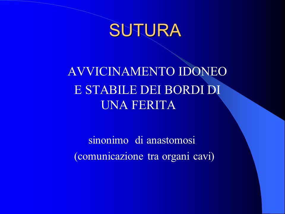 SUTURA AVVICINAMENTO IDONEO E STABILE DEI BORDI DI UNA FERITA sinonimo di anastomosi (comunicazione tra organi cavi)