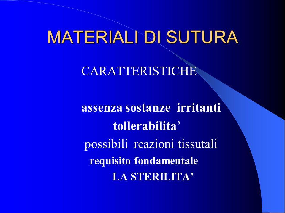 MATERIALI DI SUTURA CARATTERISTICHE assenza sostanze irritanti tollerabilita possibili reazioni tissutali requisito fondamentale LA STERILITA
