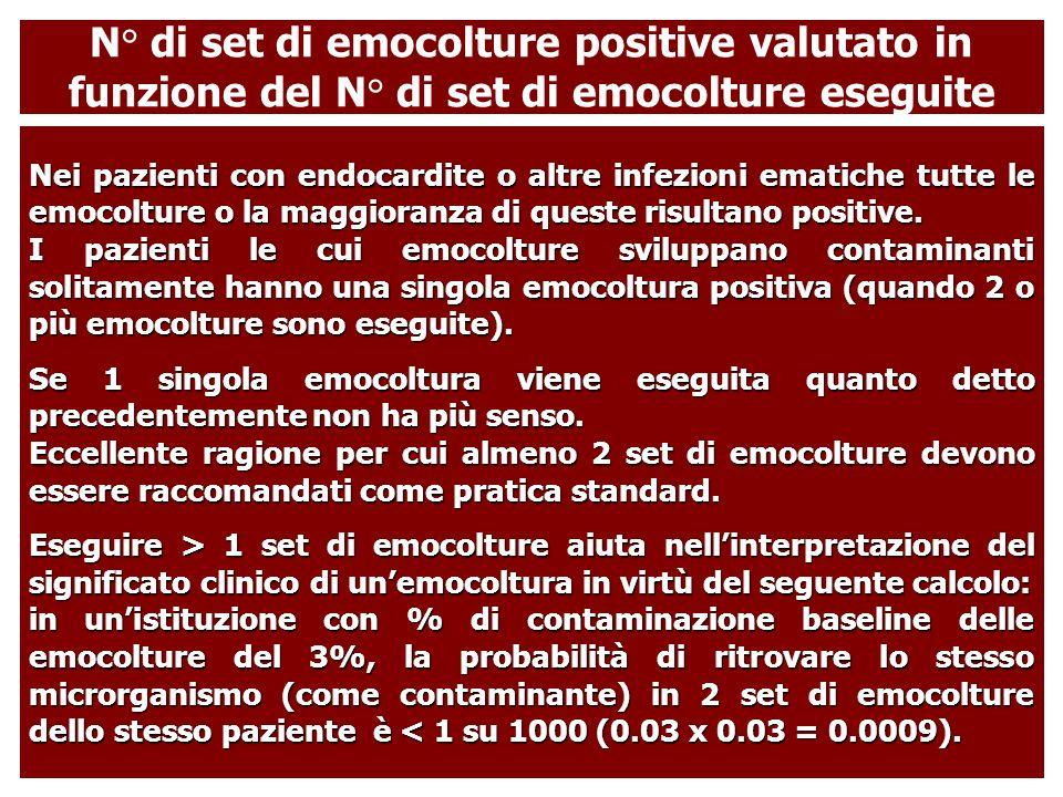 Nei pazienti con endocardite o altre infezioni ematiche tutte le emocolture o la maggioranza di queste risultano positive. I pazienti le cui emocoltur