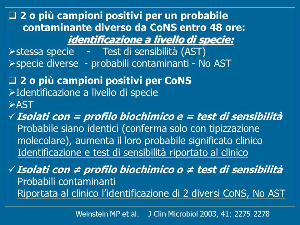 Weinstein MP et al. J Clin Microbiol 2003, 41: 2275-2278 2 o più campioni positivi per un probabile contaminante diverso da CoNS entro 48 ore: identif