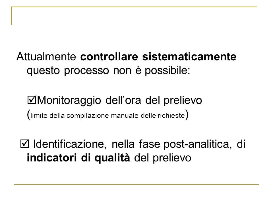 Attualmente controllare sistematicamente questo processo non è possibile: Monitoraggio dellora del prelievo ( limite della compilazione manuale delle