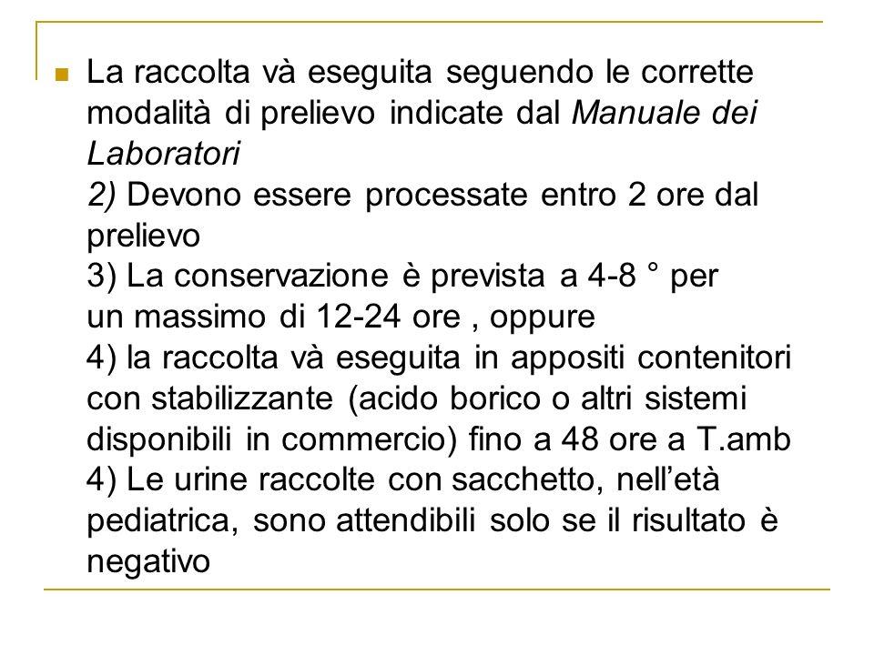 La raccolta và eseguita seguendo le corrette modalità di prelievo indicate dal Manuale dei Laboratori 2) Devono essere processate entro 2 ore dal prel