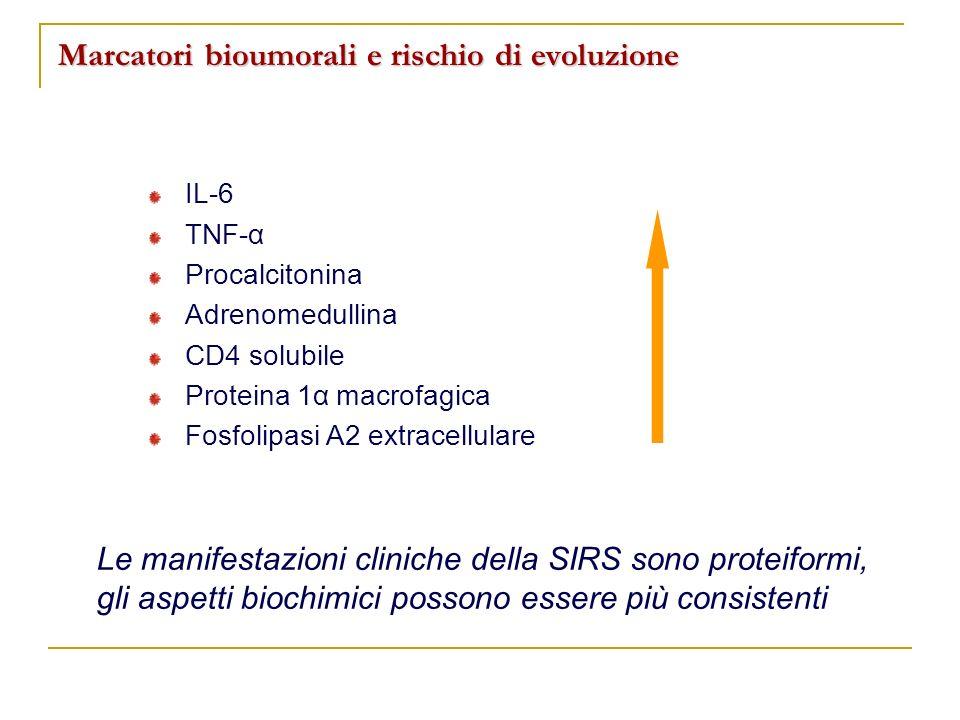 Marcatori bioumorali e rischio di evoluzione IL-6 TNF-α Procalcitonina Adrenomedullina CD4 solubile Proteina 1α macrofagica Fosfolipasi A2 extracellul