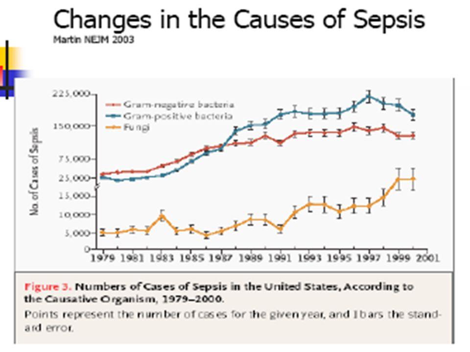 Batteriemie e sindromi settiche 842 episodi di batteriemia Gram positivi (n=473=55%) sepsi sepsi severa S.aureus 19,3% 19,8% S.coagulasi Θ 11,2% 6% Enterococchi 5,5% 3,6% Gram negativi (n=407=45%) E.coli 28,1% 22,6% Klebsiella spp 3,4% 5,2% Enterobacter, Citrobacter spp 2,5% 4,4% Ps.aeruginosa 2,7% 5,6% Acinetobacter spp 0,6% 2% Candida ed altri miceti 1,2% 2,4% Brun-Buisson C
