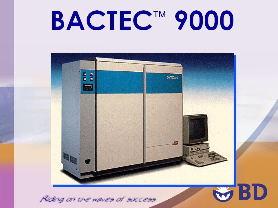 BACTEC AUTOMAZIONE COMPLETA Lo strumento è: Lettore in continuo Incubatore Agitatore Tecnologia di lettura La tecnologia di lettura del Sistema Bactec è basata su un metodo fluorimetrico sensibile alla produzione di CO 2 da parte del microrganismo presente.