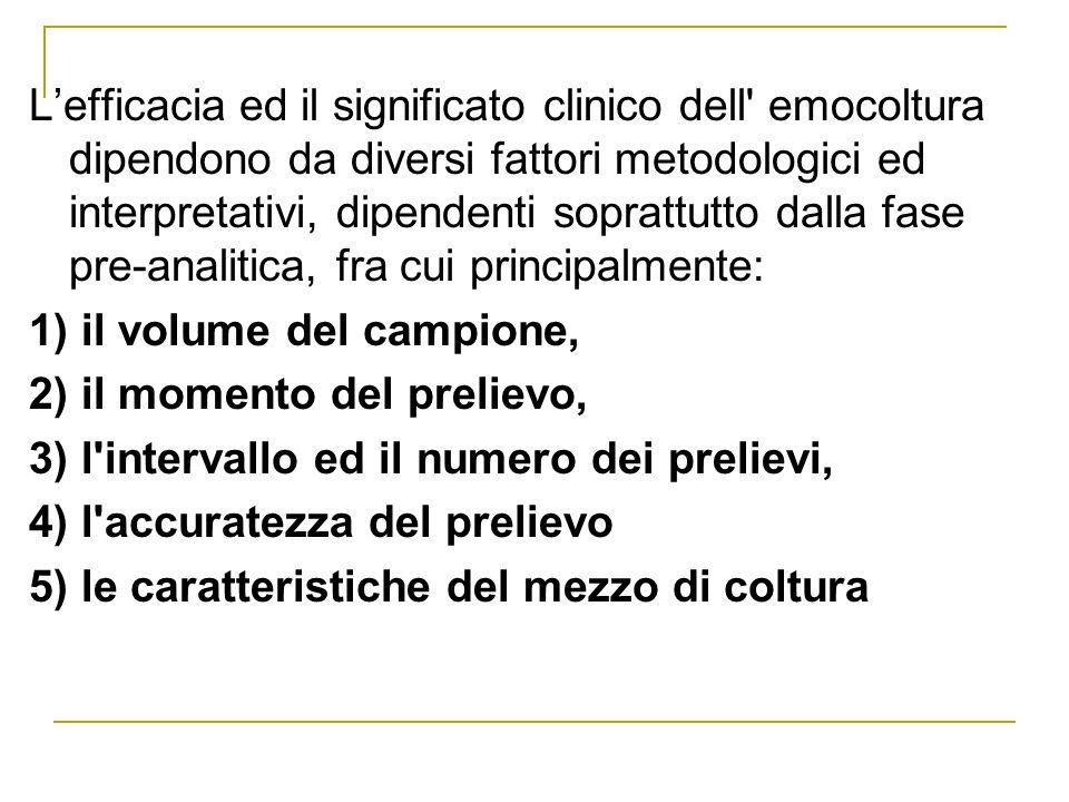Lefficacia ed il significato clinico dell' emocoltura dipendono da diversi fattori metodologici ed interpretativi, dipendenti soprattutto dalla fase p