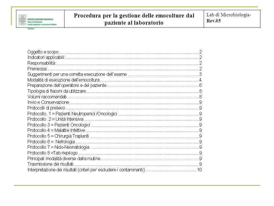 Procedura per la gestione delle emocolture dal paziente al laboratorio Lab di Microbiologia- Rev.05