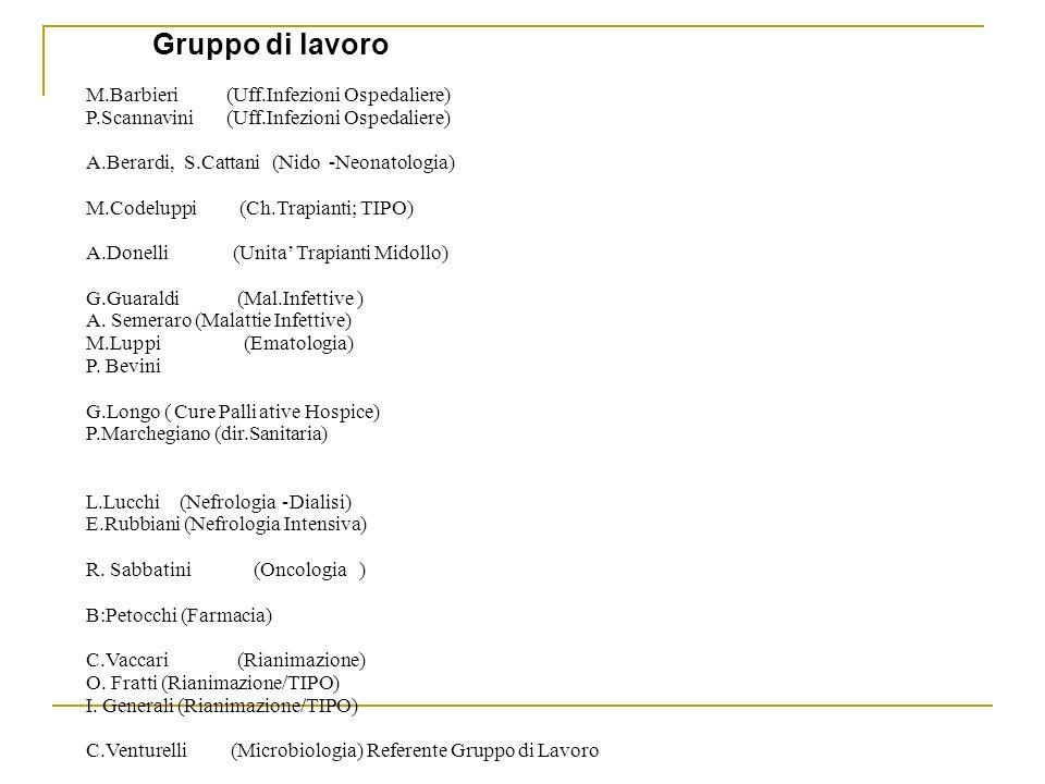 M.Barbieri (Uff.Infezioni Ospedaliere) P.Scannavini (Uff.Infezioni Ospedaliere) A.Berardi, S.Cattani (Nido-Neonatologia) M.Codeluppi (Ch.Trapianti; TI