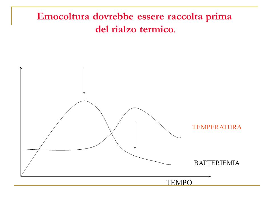 Emocoltura dovrebbe essere raccolta prima del rialzo termico. TEMPERATURA BATTERIEMIA TEMPO