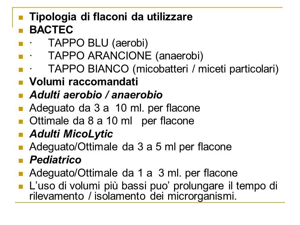 Tipologia di flaconi da utilizzare BACTEC ·TAPPO BLU (aerobi) ·TAPPO ARANCIONE (anaerobi) ·TAPPO BIANCO (micobatteri / miceti particolari) Volumi racc