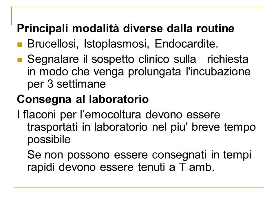 Principali modalità diverse dalla routine Brucellosi, Istoplasmosi, Endocardite. Segnalare il sospetto clinico sulla richiesta in modo che venga prolu