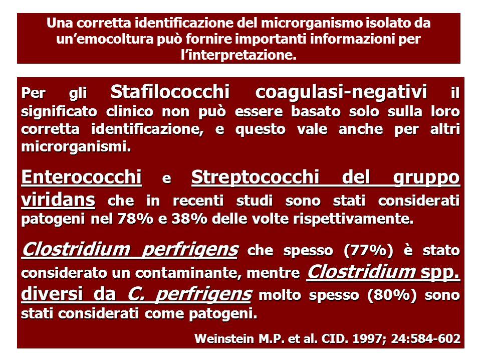 Per gli Stafilococchi coagulasi-negativi il significato clinico non può essere basato solo sulla loro corretta identificazione, e questo vale anche pe