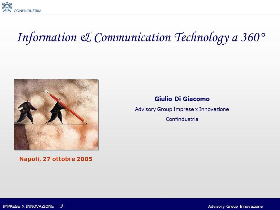 IMPRESE X INNOVAZIONE = I 3 Advisory Group Innovazione 32 Il sostegno all innovazione digitale nelle imprese da parte del Governo a) sezione speciale tecnologie digitali presso il Fondo centrale di garanzia per le PMI con una dotazione di 160 Meuro fino al 2007 per agevolare la concessione di finanziamenti bancari a fronte di progetti di investimento in Innovazione Tecnologica, organizzativa e commerciale da parte di PMI.