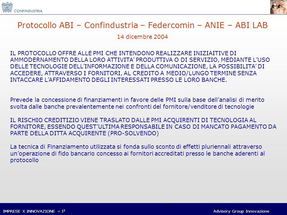 IMPRESE X INNOVAZIONE = I 3 Advisory Group Innovazione 31 Protocollo ABI – Confindustria – Federcomin – ANIE – ABI LAB 14 dicembre 2004 IL PROTOCOLLO OFFRE ALLE PMI CHE INTENDONO REALIZZARE INIZIAITIVE DI AMMODERNAMENTO DELLA LORO ATTIVITA PRODUTTIVA O DI SERVIZIO, MEDIANTE LUSO DELLE TECNOLOGIE DELLINFORMAZIONE E DELLA COMUNICAZIONE, LA POSSIBILITA DI ACCEDERE, ATTRAVERSO I FORNITORI, AL CREDITO A MEDIO/LUNGO TERMINE SENZA INTACCARE LAFFIDAMENTO DEGLI INTERESSATI PRESSO LE LORO BANCHE.