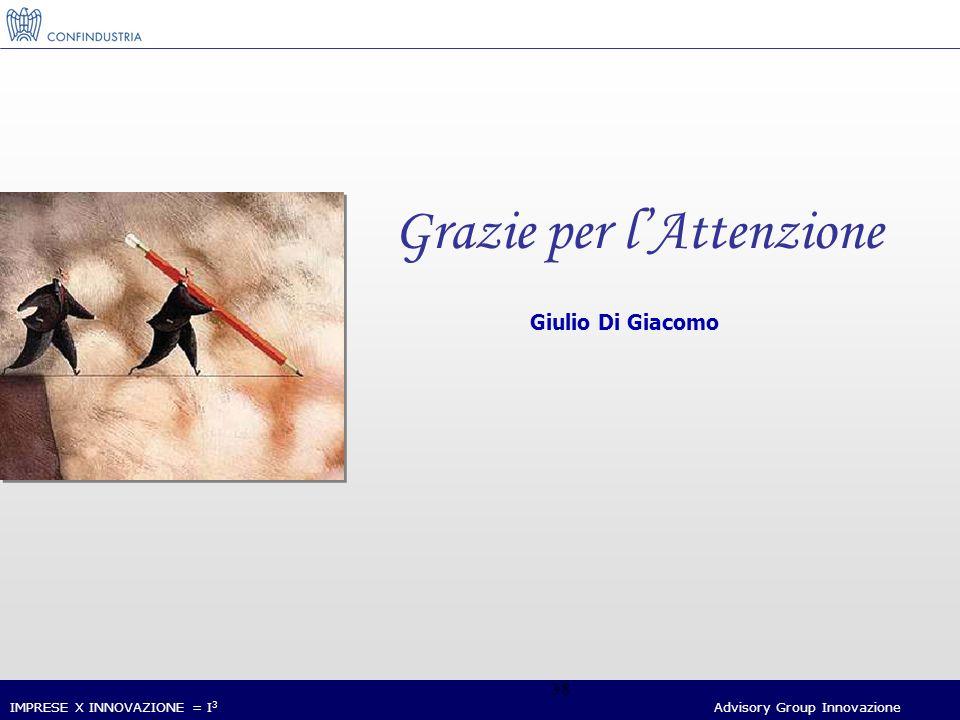 IMPRESE X INNOVAZIONE = I 3 Advisory Group Innovazione 38 Grazie per lAttenzione Giulio Di Giacomo