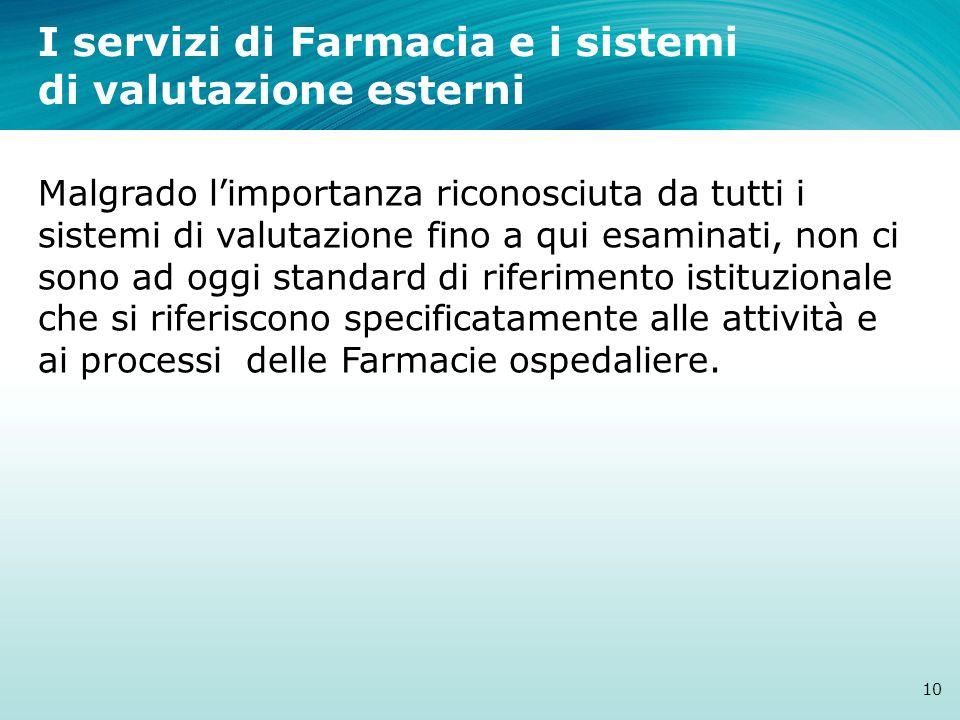 I servizi di Farmacia e i sistemi di valutazione esterni 10 Malgrado limportanza riconosciuta da tutti i sistemi di valutazione fino a qui esaminati,