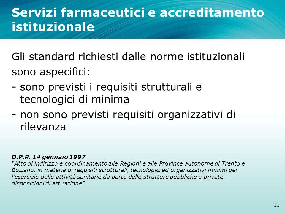 Servizi farmaceutici e accreditamento istituzionale 11 Gli standard richiesti dalle norme istituzionali sono aspecifici: - sono previsti i requisiti s