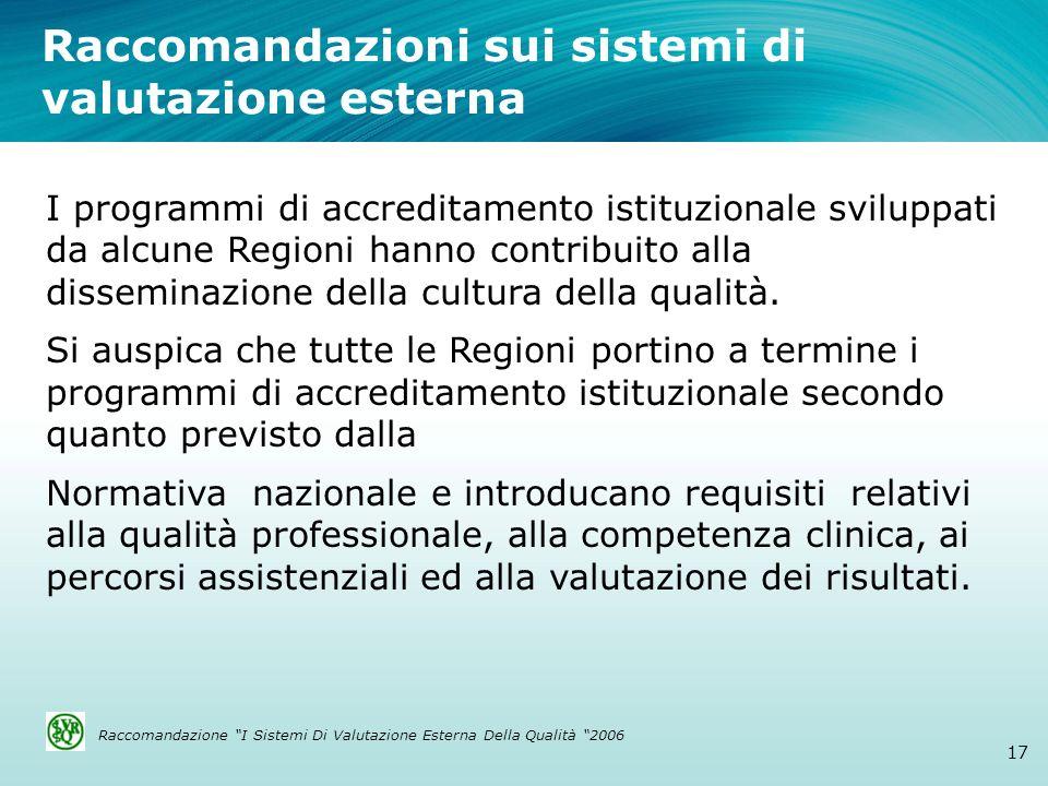 Raccomandazioni sui sistemi di valutazione esterna 17 I programmi di accreditamento istituzionale sviluppati da alcune Regioni hanno contribuito alla