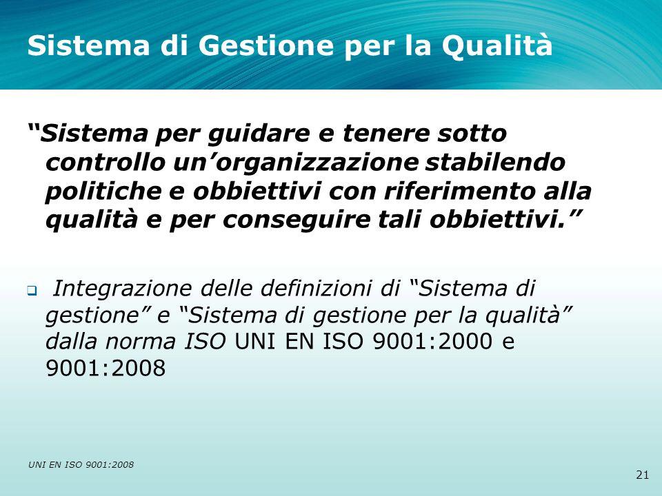 Sistema di Gestione per la Qualità 21 Sistema per guidare e tenere sotto controllo unorganizzazione stabilendo politiche e obbiettivi con riferimento