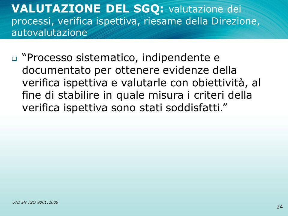 24 Processo sistematico, indipendente e documentato per ottenere evidenze della verifica ispettiva e valutarle con obiettività, al fine di stabilire i