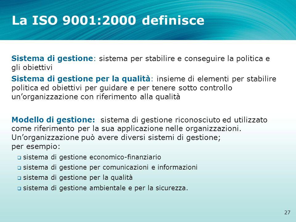 La ISO 9001:2000 definisce Sistema di gestione: sistema per stabilire e conseguire la politica e gli obiettivi Sistema di gestione per la qualità: ins