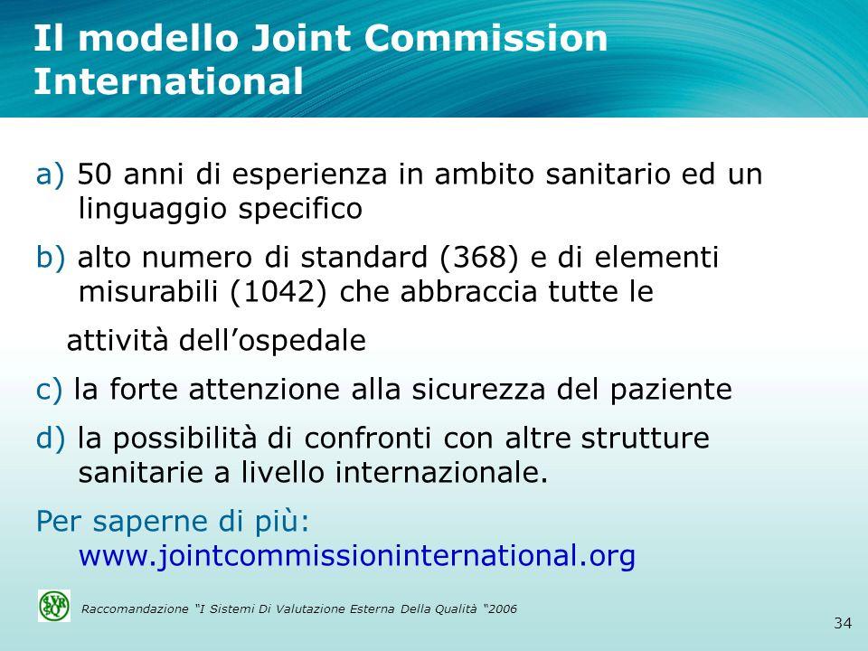 Il modello Joint Commission International 34 a) 50 anni di esperienza in ambito sanitario ed un linguaggio specifico b) alto numero di standard (368)